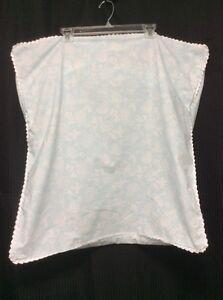 Pillow Sham EURO Martha Stewart Baby Blue White trim Floral Country Coastal P4