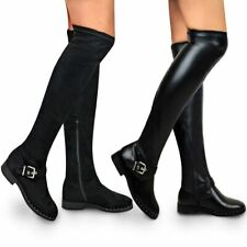 Womens Flat Low Heel Thigh Boot Over The Knee Stretch Boots Black Zip Up Size