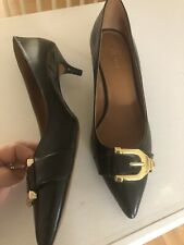 db9e474fd9 Nine West IRI Pointed Toe Black Leather Pumps Classic Size 10M Career Kitten  Hee