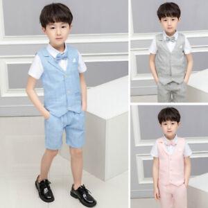 Boys Suits Linen Suit, 3 Piece Short Set Suit, Wedding Page boy Formal Baby Boys