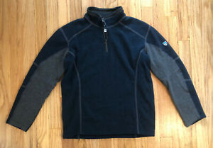 Kuhl Boy's Medium 10/12 Kashmira 1/4 Zip Gray And Blue Pullover Sweater
