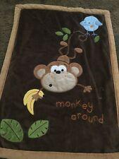 Koala Baby Brown Monkey Around Plush Baby Blanket with Blue Bird