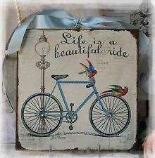 "~ ""Bycicle "" Shabby Chic Vintage Country Cottage style ~ Wall Decor Sign ~"