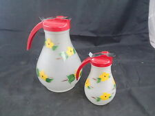 Vintage Mid Century Gay Fad Frosted Glass Waffle & Syrup Pitcher Dripcut Glass