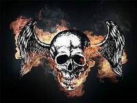 ART PRINT POSTER PAINTING DRAWING SKULL GOTHIC ANGEL WINGS SMOKE LFMP1065