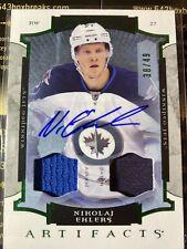 Nikolaj Ehlers 15-16 Artifacts Emerald Rookie Jersey & Patch Autograph S/N 38/49