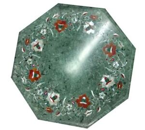 """12"""" green marble side table top handmade inlay work home decor"""