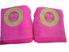 2 New Christy Official WIMBLEDON Tennis Club FACE FLANNELS Towels Pink 30x30 cm