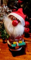 Vintage BOBBLE HEAD SANTA with Christmas Presents Wood