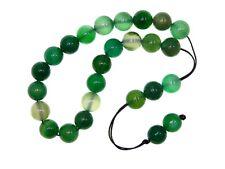 0448 Loose String Greek Komboloi Prayer Beads 10mm Green Agate Gemstone