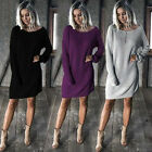Ladies Women Long Sleeve Casual Loose Knitted Sweater Tops Pullover Jumper Dress
