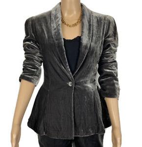 BIBA Crushed Velvet Silk Blend Grey Fitted Steampunk Smart Jacket Size 10