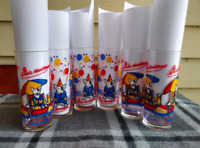 SET OF SIX Vintage 1987 Spuds Mackenzie Bud Light Dog Drinking Glasses - EUC!