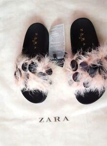Zara Embellished Slides Pink  NEW Size UK  3 EU 36