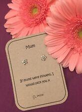 Mothers Mum Gift Flower Sterling Silver Personalised Earrings. Saccos