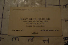 vintage business card: EAST SIDE GARAGE manchester NH early