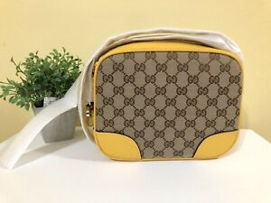 Gucci Bree Canvas Crossbody Yellow NEW