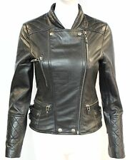 Loreal Ladies women Black Quilted Designer Fitted Double Breasted Leather Jacket