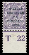 Ireland 1922 KGV 3d violet Control T22 marginal copy mint. SG 36. Hib TC91.