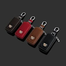 Leather Car Key Protection Bag Car Key Holder Keychain Ring Case For Cadillac