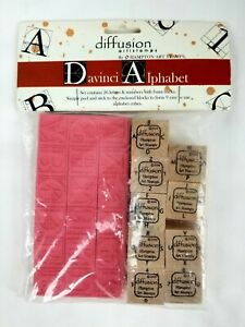 Hampton Art Stamps Diffusion Davinci Alphabet Numbers Rubber Stamp Set Brand New