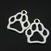 50pcs Vintage Silver Alloy Dog Paw Footprint Charms For Necklace Pendant Finding