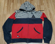 10 Deep Men's Full Zip Collar Red Black Stripe Hoodie Sweatshirt Jacket Sz M