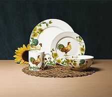 Dishes Service For 4 Casual Dinnerware Sets Everyday Rooster Country Stoneware