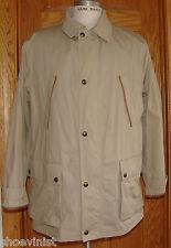 Ralph Lauren Polo Club Tan Men's Coat Jacket Overcoat Cotton Leather Trim XL