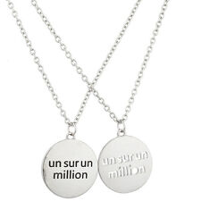 "Lux Accessories Silvertone ""Un Sur Un Million"" Charm Necklace Set (2PC)"