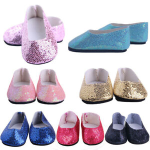 House Dollhouse Doll Shoes Fit 18 Inch/43CM Toy Accessories Shiny Sequins