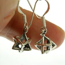 David, Jewish Kabbalah Jewelry, ep135 Merkaba Silver Earrings, 3D Star of