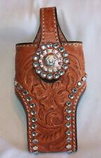 Tooled Leather Phone Flip Case Holder Belt Clip Rhinestone Bling Western Cowgirl