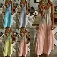 Womens  Summer Sleeveless Beach Maxi Dresses V Neck  Baggy Dress  Kaftan