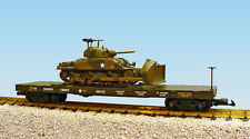 USA Trains G Scale  R1787 US Marine Corps Flat Car #0152 With SHERMAN DOZER-GREE