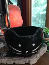 New~Whimsical Cupboard Whisker Black Kitty Cat Ceramic Food Water Bowl