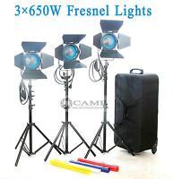 3 X 650W Fresnel Tungsten Studio Video Spot Light+Air Cushioned Stands