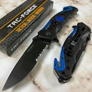 """Tac Force Half Serrated Tactical """"POLICE"""" Emblem Spring Assisted Pocket Knife"""