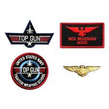 Goose Nick Top Gun Movie School iron on Patch (4pc With Pilot Aviator Wings Pin)