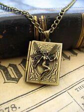 Bronce De Hadas Hechizos Libro Foto Medallón Collar Colgante Antiguo Steampunk De Colección