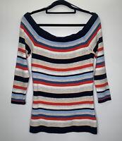 Tommy Hilfiger Boatneck Jumper Size Medium Blue Grey Red Stripes Long Sleeves