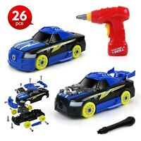 BeebeeRun 26pcs 2 in 1 Take Apart Racing Car Toy with Sounds & Lights Build Y...