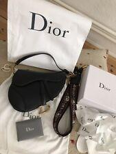 Original Dior Saddle Bag Sac Tasche Glattleder schwarz mit Dior Gurt in Full Set