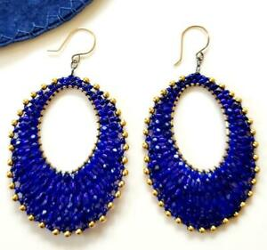 Miguel Ases Cobalt Blue & 18K Gold Filled Bead Drop Dangle Earrings Handcrafted