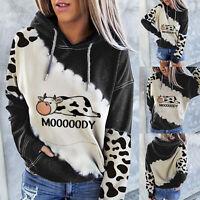 Women Cute Cow Print Hoodie Long Sleeve Casual Hooded Sweatshirt Pullover Tops