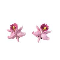Vintage West Germany Pretty Pink Iris Flower Clip On Earrings Costume Jewelry