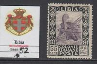 Italy Libia - Sassone n. 52 cv 1200$ - WITH CERTIFICATE - Fine centered - MH*