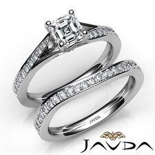 1.68ctw 4 Prong Pave Bridal Asscher Diamond Engagement Ring GIA E-VS1 White Gold