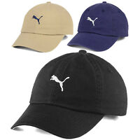 Puma Leaping Cat Logo Polo Leather Strapback Washed Slouch Dad Golf Cap Hat NEW