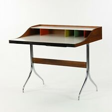 1958 Vintage George Nelson for Herman Miller Swag Leg Desk in Walnut and Chrome